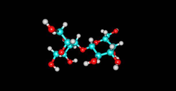 Laktoza struktury molekularnej odizolowany na czarny – zdjęcie