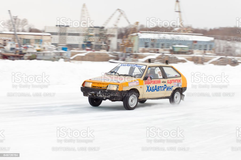 Lada 2108 at winter ice track race on frozen river stock photo