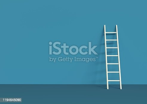 ladder, 3d, blue background, white, 3d