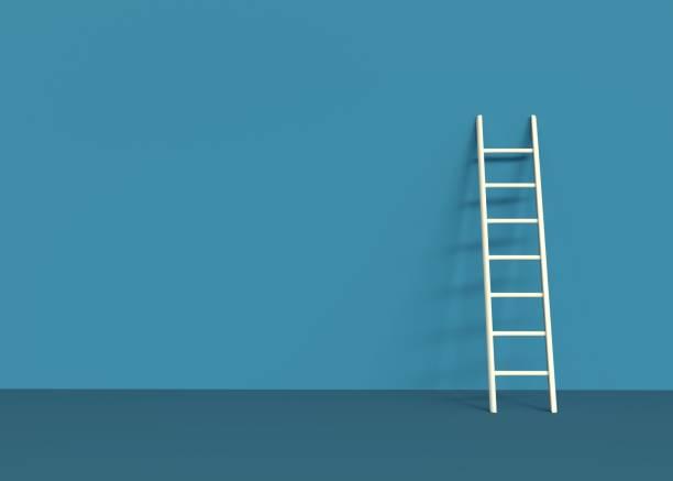 ladder 3d rendering op blauwe achtergrond - ladder stockfoto's en -beelden