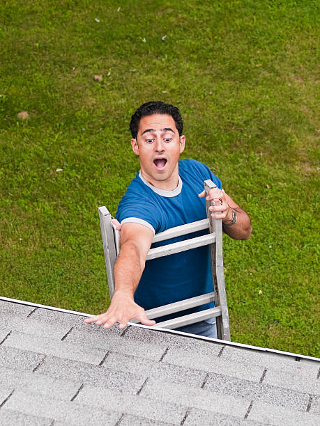 ladder accident - ladder stock photos and pictures