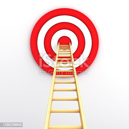 1014851458 istock photo Ladder and goal target the business idea concept on white wall background with shadow 3D rendering 1250236943