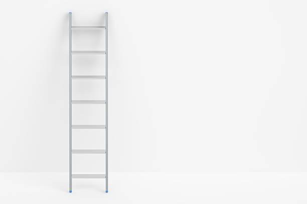 ladder and white wall, 3d rendering - ladder stockfoto's en -beelden