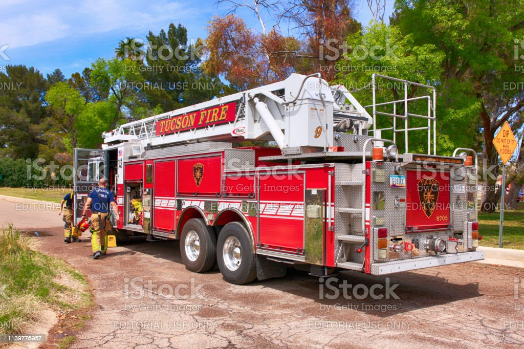 Ladder Fire truck of the Tucson Fire Department out on a training...