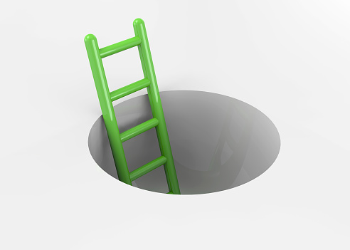 istock Ladder in a Hole - 3D 504530200