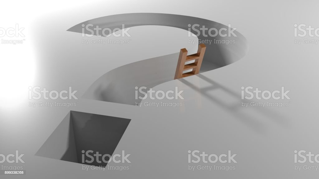 Ladder in a question mark shaped hole - 3D rendering stock photo