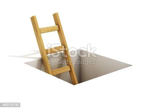 1048837520 istock photo ladder inside rectangular hole 500725767