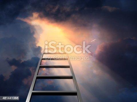 1048837520 istock photo Ladder into dramatic sky 481441068