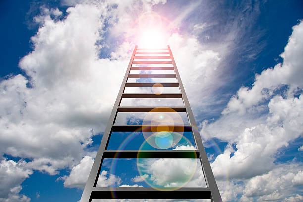 ladder into sky - ladder stock photos and pictures