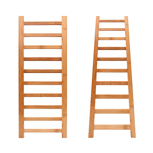 ladder (clipping path!) isolated on white background - ladder stockfoto's en -beelden