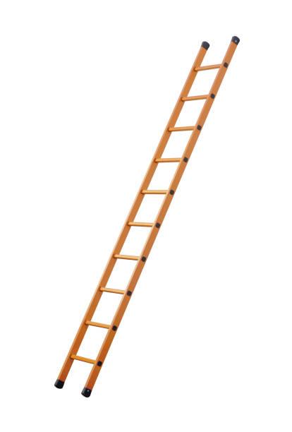 ladder (clipping path!) geïsoleerd op witte achtergrond - ladder stockfoto's en -beelden