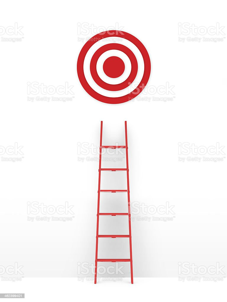 Ladder Leading Target stock photo