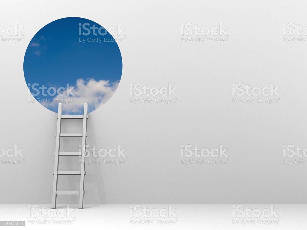 Ladder leading to sky - 3d render stock photo