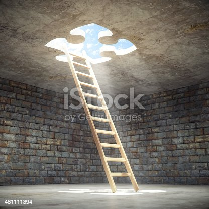 Wooden ladder leading up to the light from inside of a puzzle shaped hole in a dark dungeon.