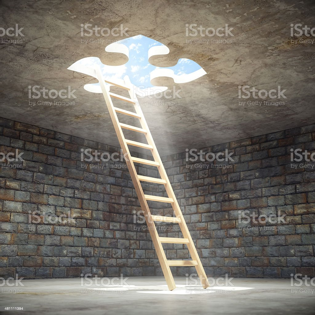 Ladder Leading Up To The Light stock photo