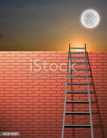 istock Ladder leans on wall with sky 452518081