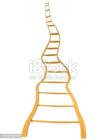1048837520 istock photo ladder  long to the sky  wooden isolated turns - 3d rendeing 1218762122