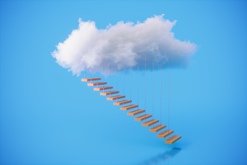 Stairs rising to the clouds, symbolizing success, career growth, individuality concepts. (3d render)