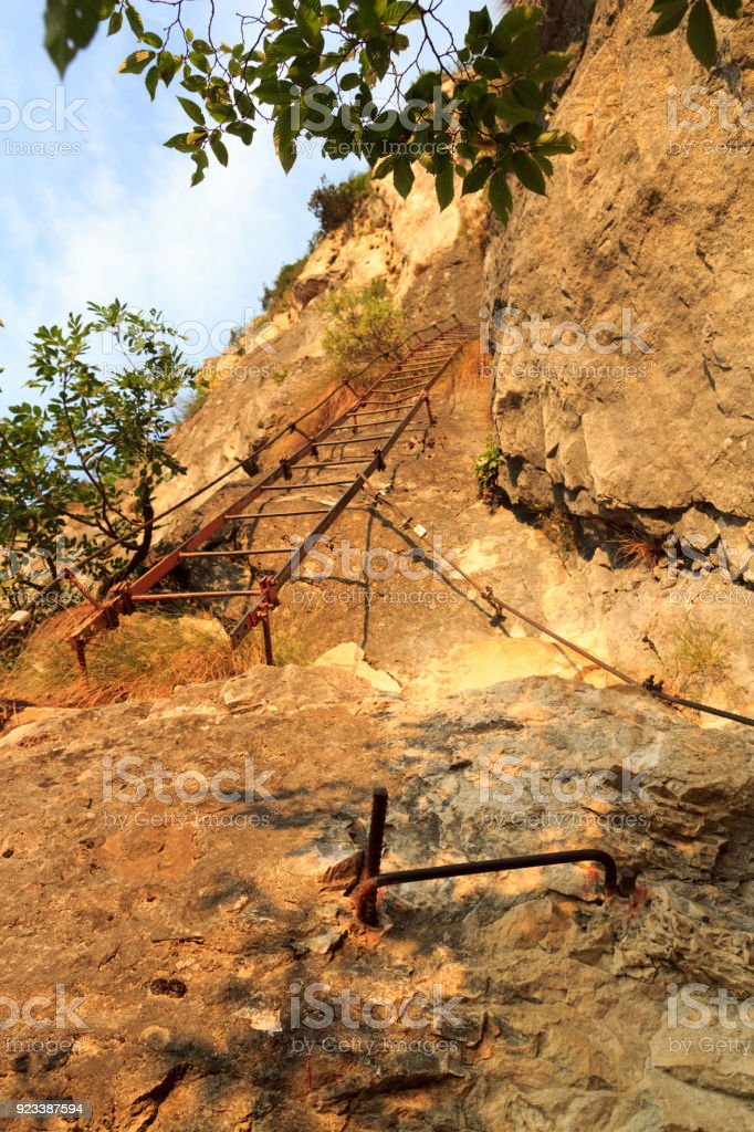 Ladder of Via ferrata Amicizia near Riva del Garda, Italy stock photo