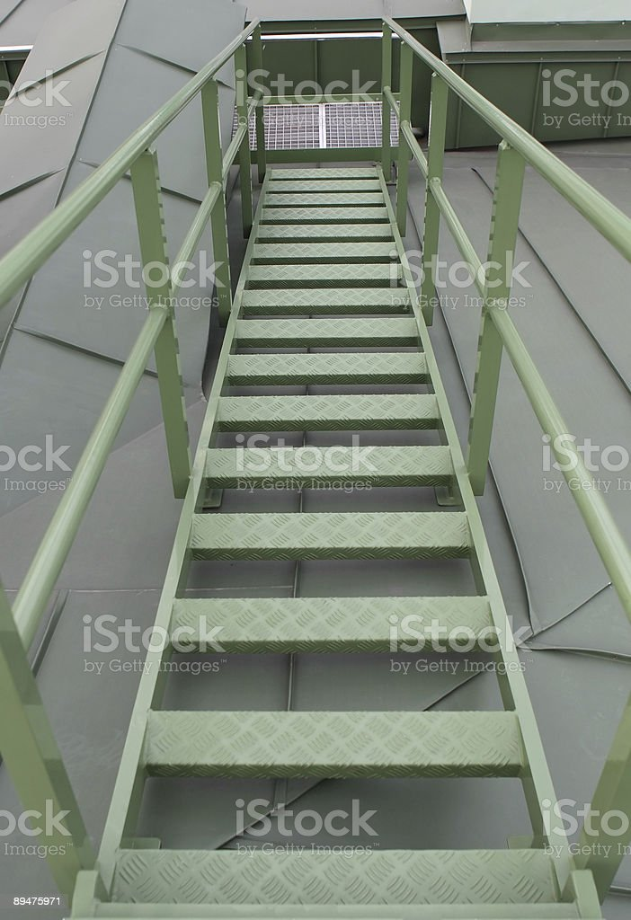 Ladder on a roof stock photo