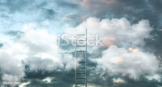 istock Ladder on clouds with sky background - Way to success concept. 3d illustration 1058322802