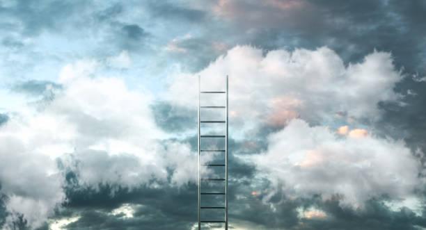 Escada de nuvens com o fundo do céu - caminho para o conceito de sucesso. ilustração 3D - foto de acervo