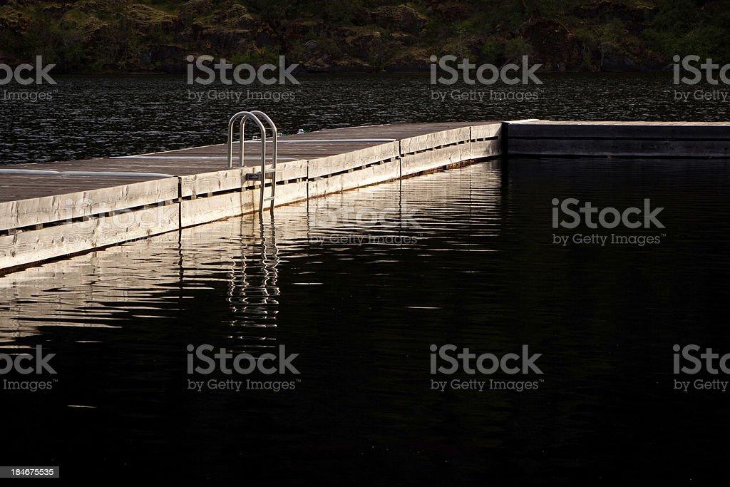 ladder on floating dock stock photo
