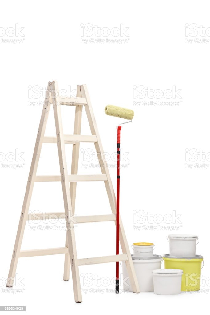Ladder, paint roller and color buckets stock photo