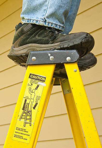 ladder safety concept stock photo