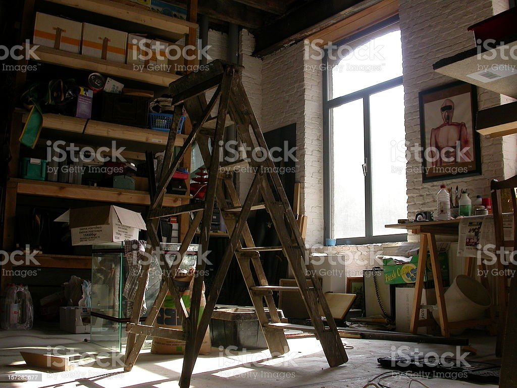 ladder stands alone stock photo