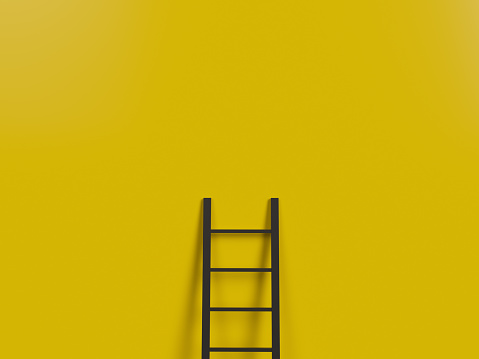 Ladder, Step Ladder, Equipment, Staircase, Yellow Wall