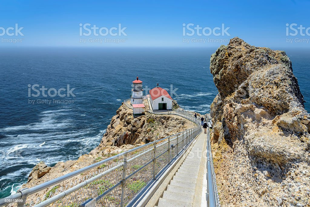 Ladder steps down. Point Reyes Lighthouse, California. stock photo