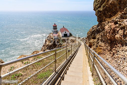 istock Ladder steps down to Point Reyes Lighthouse, California 1139422945