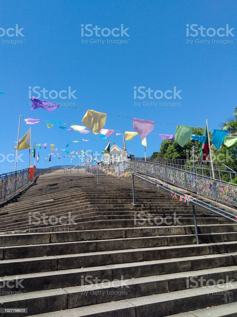 Ladder, steps, flags and church on the top - Escada, degraus, bandeiras e igreja no topo (Santuário da Penha - Rio de Janeiro) stock photo