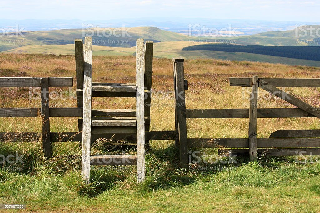 ladder stile across fence in Cheviot Hills in Northumberland stock photo