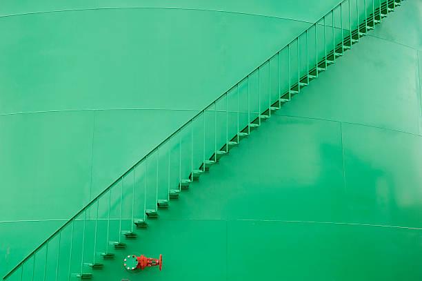 ladder storage tank stock photo