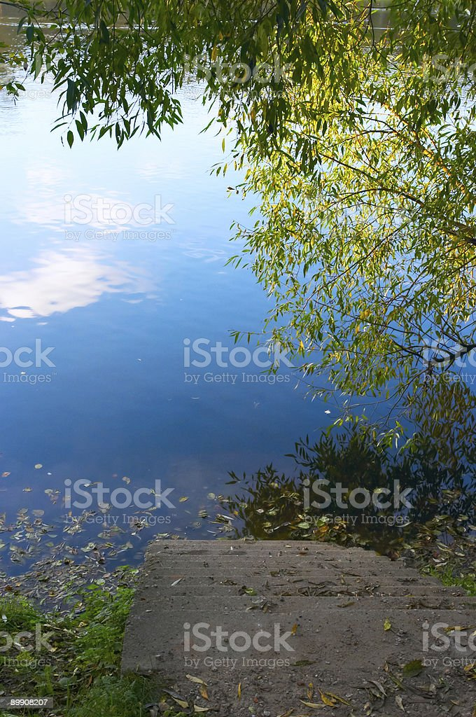 Ladder to autumn lake royalty-free stock photo
