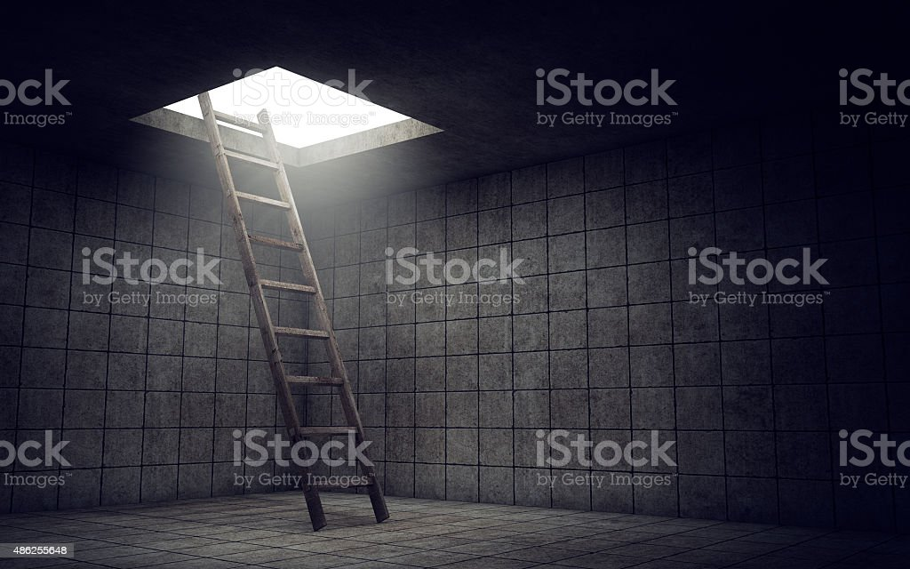 Ladder to freedom stock photo