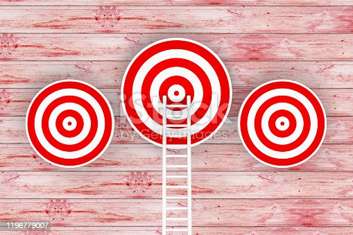 1014851458 istock photo Ladder to Target, 3D Rendering 1196779007