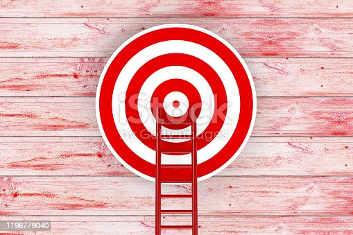 1014851458 istock photo Ladder to Target, 3D Rendering 1196779040