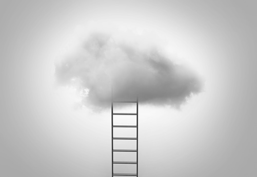 Ladder going up into cloud