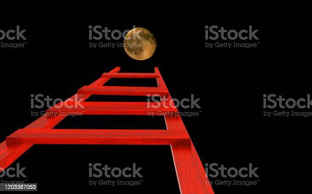 Photo of ladder to the moon in night sky ambitions dreams - 3d rendering