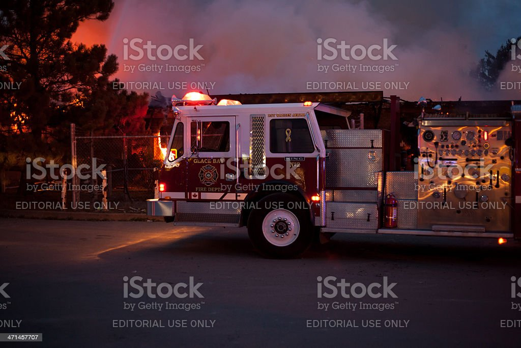 Ladder Truck at Structure Fire royalty-free stock photo