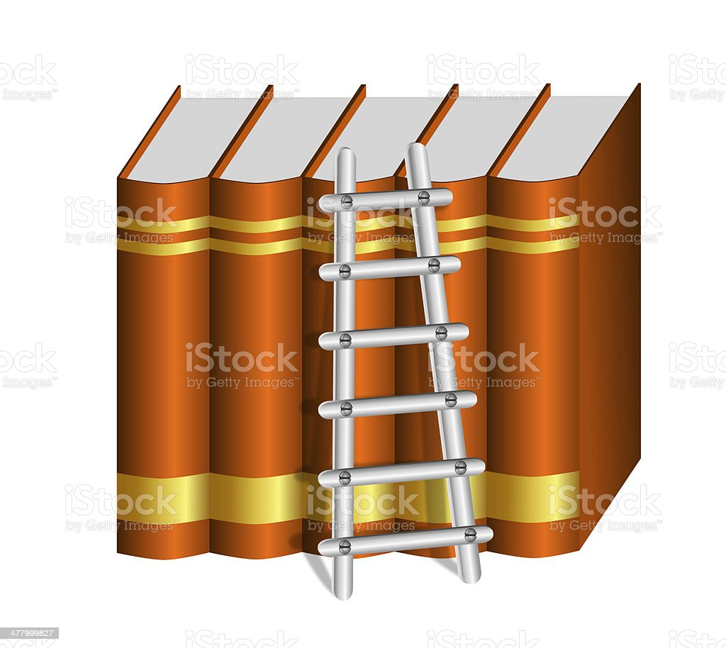 Ladder with a Row of Hard Bound Brown Books royalty-free stock photo
