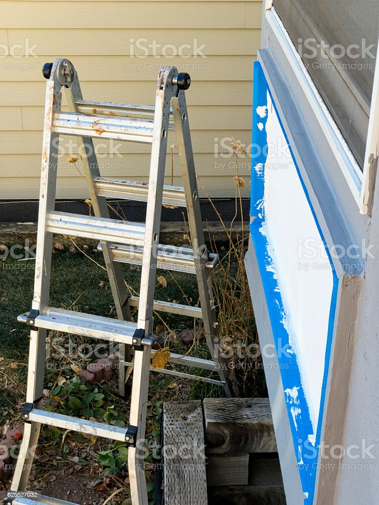 Enjoyable Ladders And House Exterior Painting Project Stock Photo Download Free Architecture Designs Ferenbritishbridgeorg
