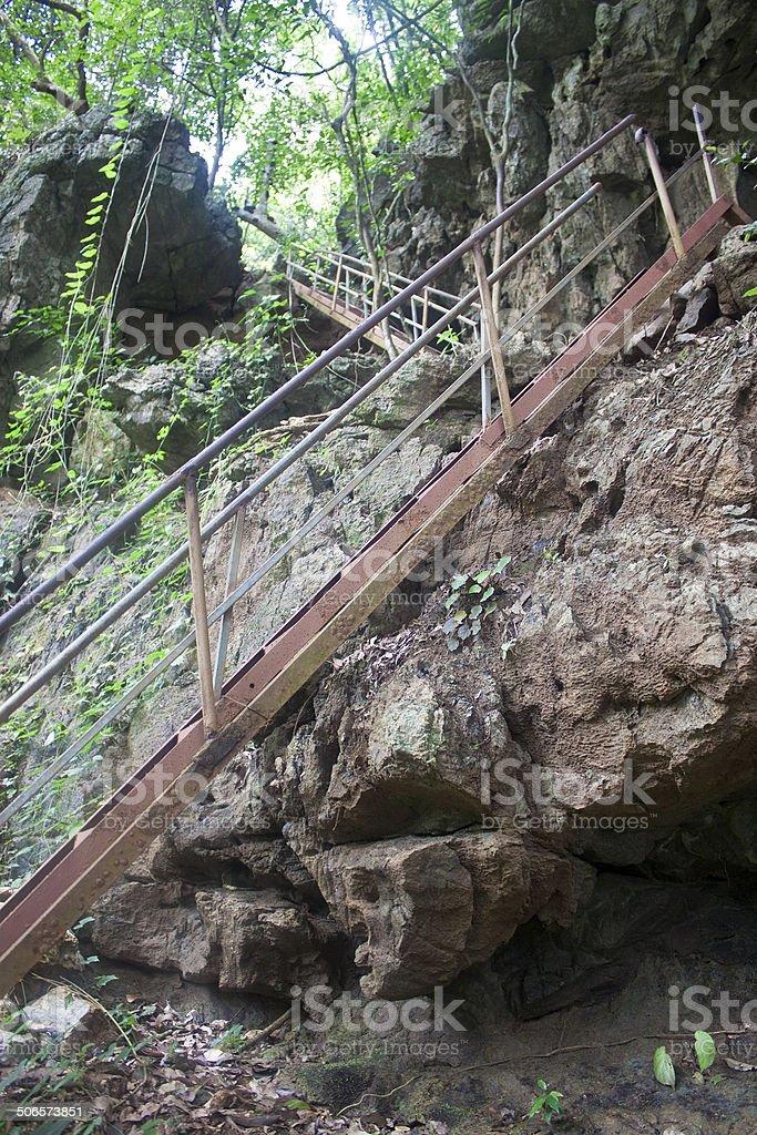 Ladders at trekking path stock photo