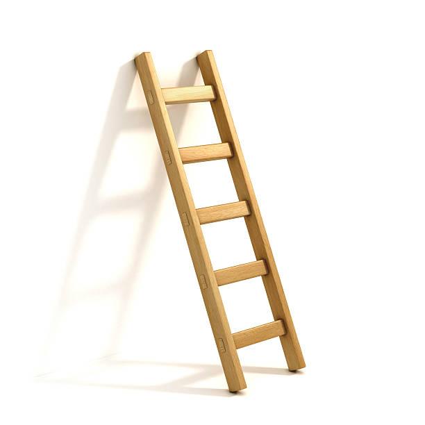 ladders isolated on white - ladder stockfoto's en -beelden