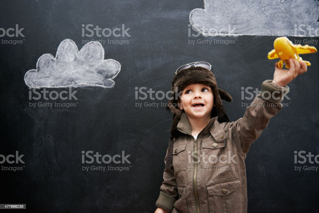 Ladies and gentlemen, this is your future captain speaking stock photo
