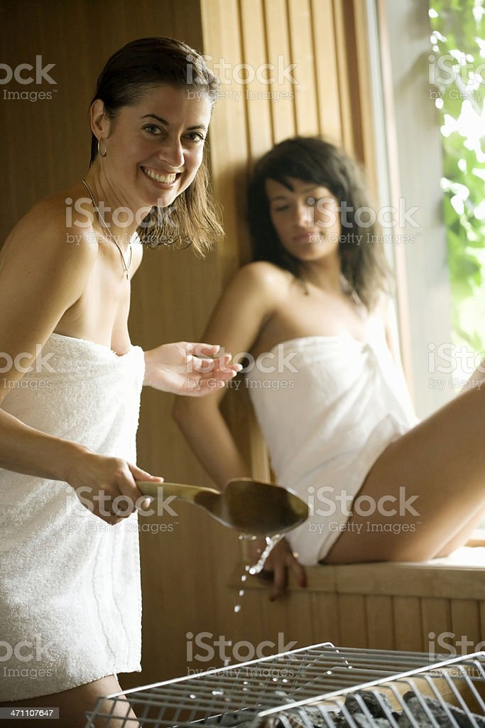 Ladies at the Spa, in sauna. royalty-free stock photo
