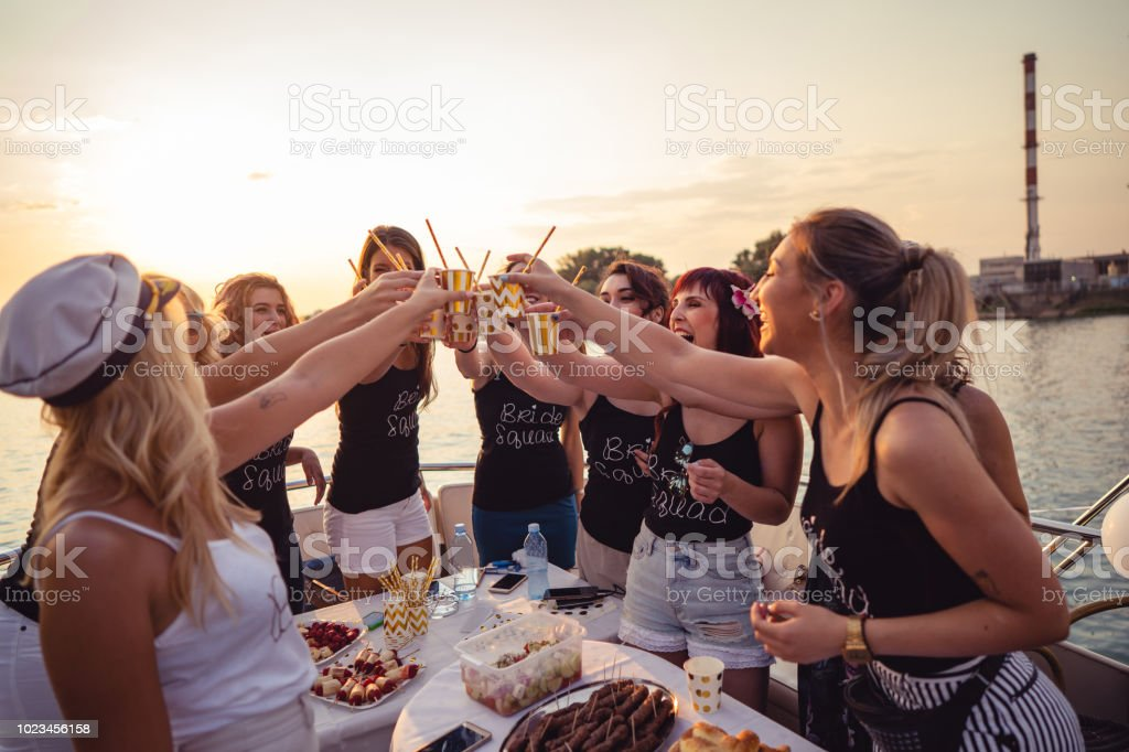 Ladies celebrating bachelorette party stock photo